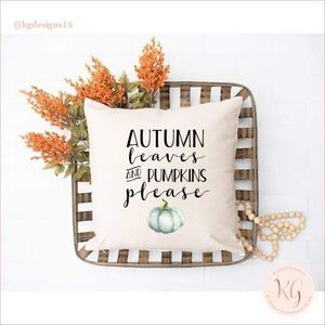 Autumn Leaves And Pumpkins Please Pillow Cover